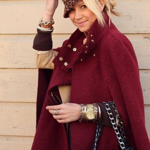 Zara Oxblood Cape with Gold buttons